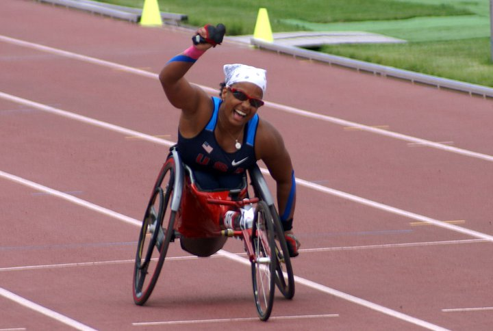 Wheelchair racer Anjali Forber-Pratt on the track.