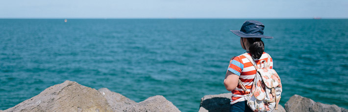 Child gazing out over our beautiful Port Phillip Bay.