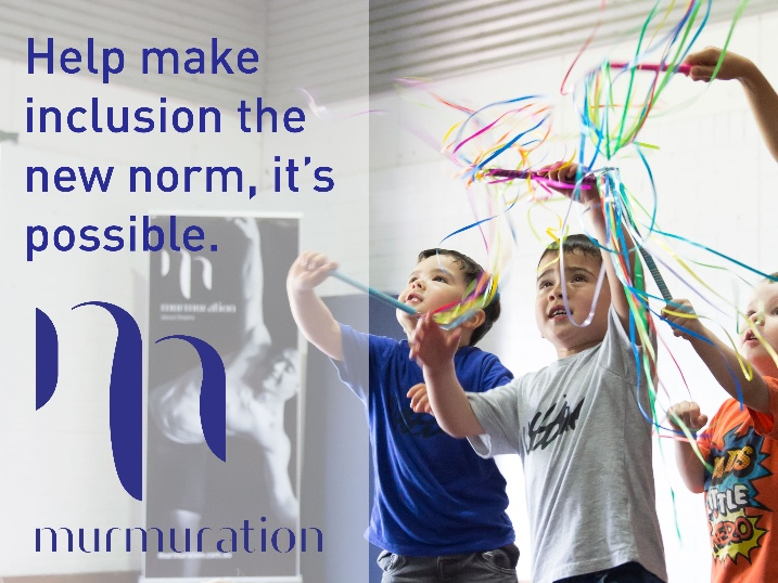 "A group of four young boys participating in Mini Murmurs class, dancing with ribbon sticks. The text 'Help make inclusion the new norm, it's possible"" over the top."