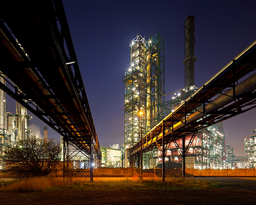 Industrial Building Lit Up At Night