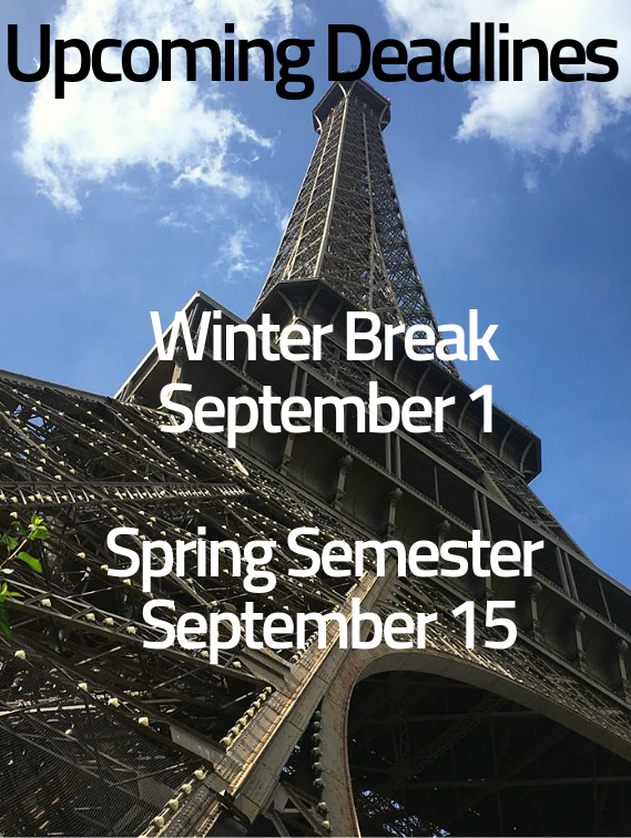 Upcoming Deadlines: Winter Break is September 1, Spring Semester is September 15