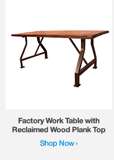 Shop Factory Work Table with Reclaimed Wood Plank Top