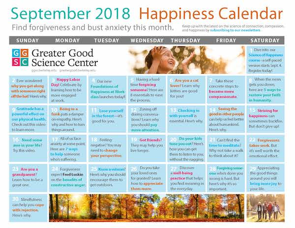 September Well-being calendar