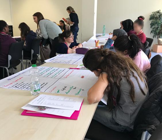 Teilnehmerinnen der Women Welcome Week setzen sich mit ih- ren Fähigkeiten, Interessen und Berufswünschen auseinander