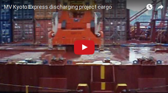 MV Kyoto Express discharging project cargo