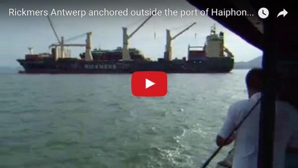Rickmers Antwerp anchored outside the port of Haiphong, Vietnam