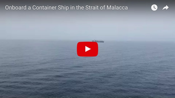 Onboard a Container Ship in the Strait of Malacca