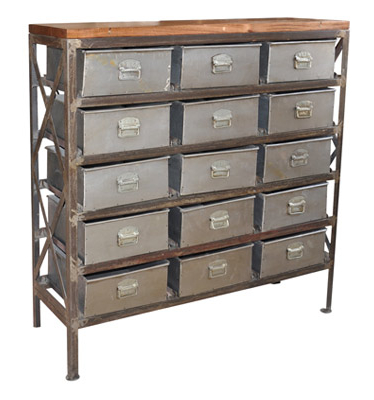 Industrial Chic cabinet with 15 drawers