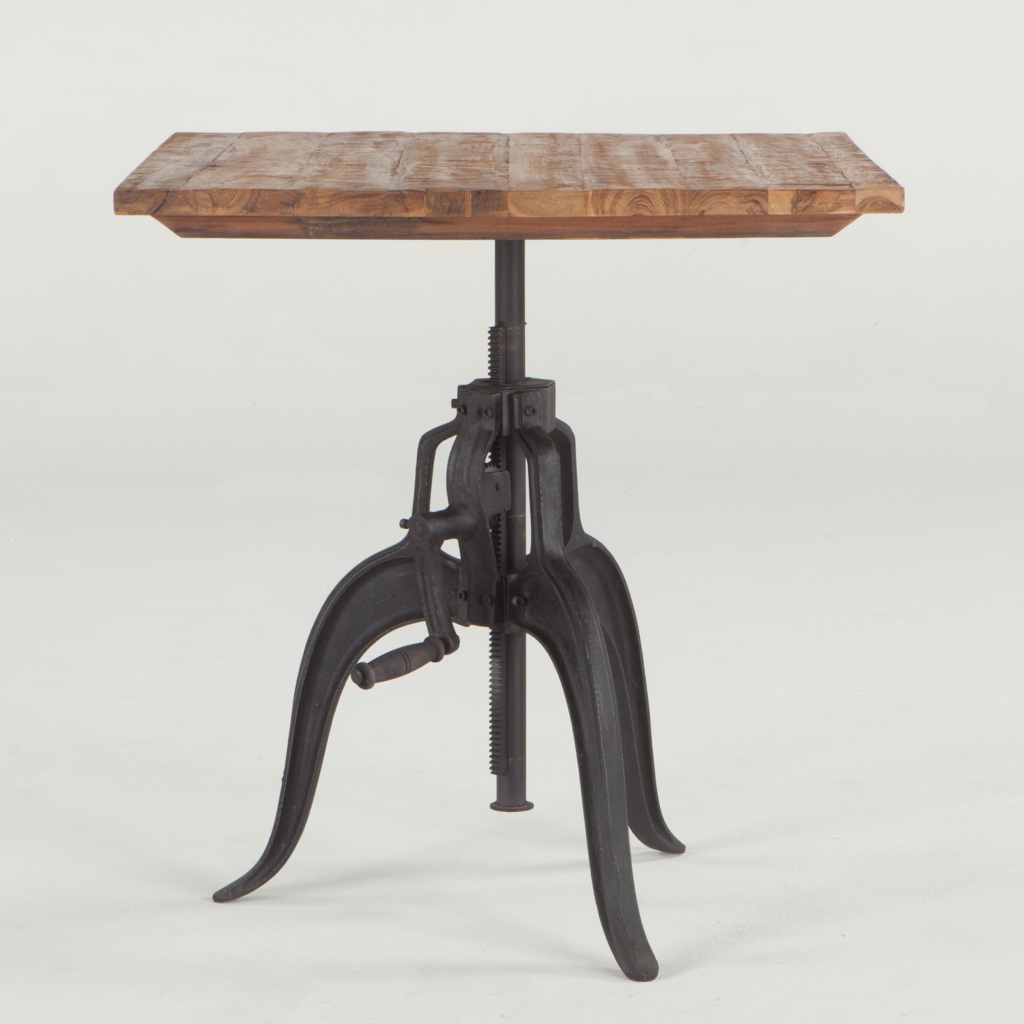 industrial chic style crank table with reclaimed wood top