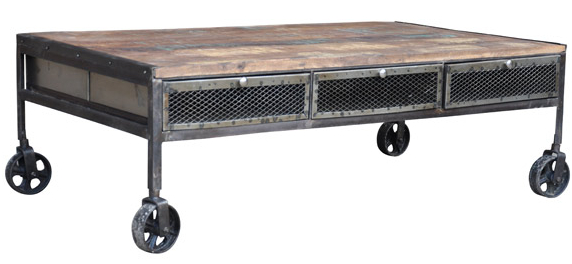 industrial rolling coffee table cart
