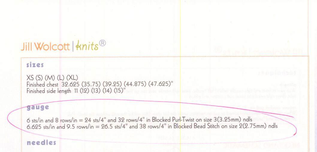 gauge information from a Jill Wolcott Knits pattern