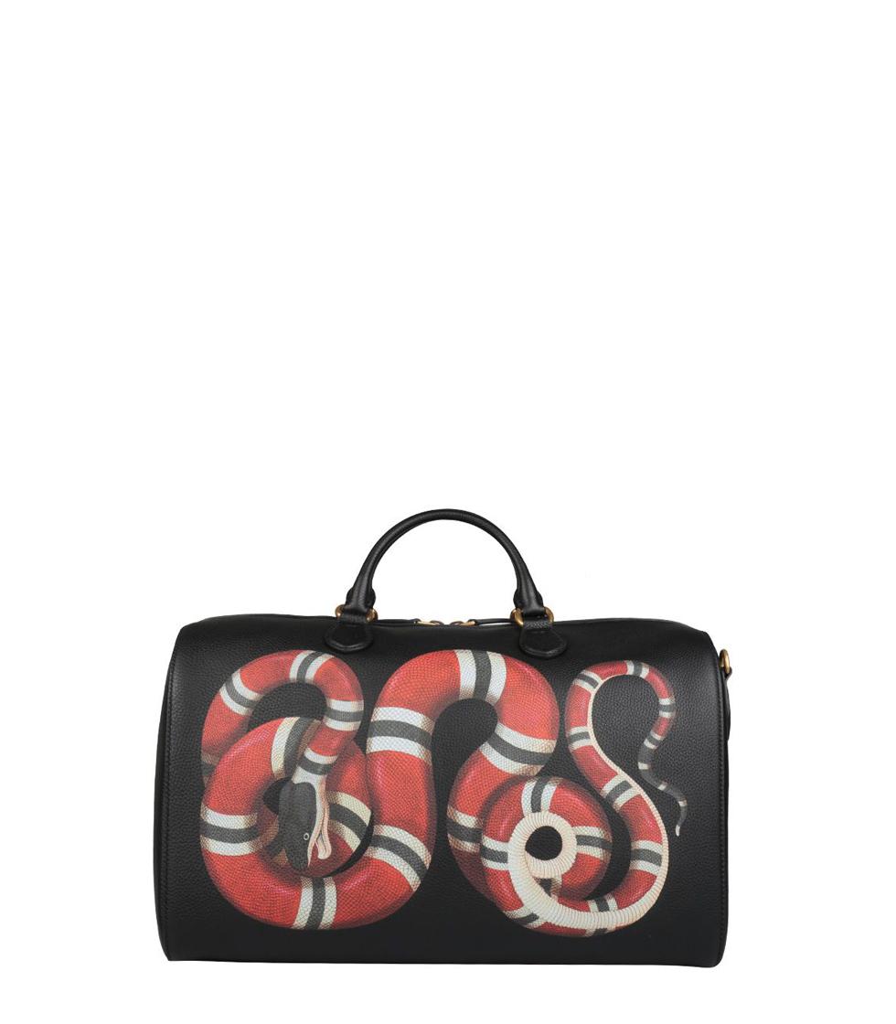 Gucci Kingsnake Print Leather Travel Bag