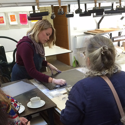 Amy-Jane Blackhall demonstrating at Rabley Print Studio