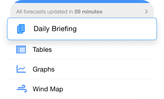 Daily Briefing in the PredictWind App