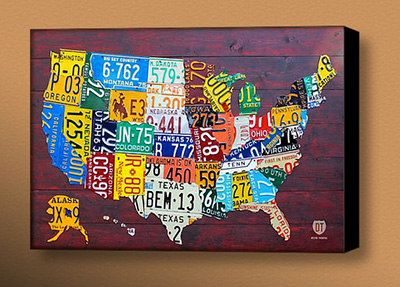 USA license plate map wrapped canvas print