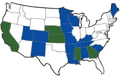 US Map of States Served