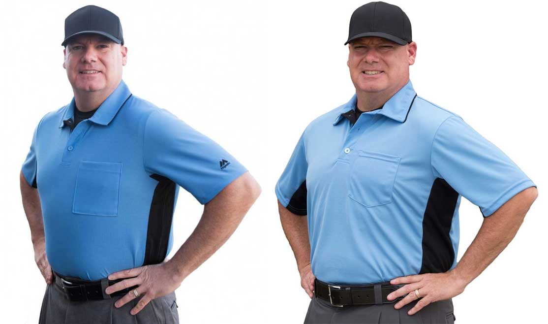 Majestic MLB & Smitty Replica Umpire Shirts - Sky Blue with Black Side Panels