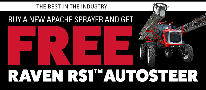 Buy a new Apache Sprayer and get FREE Raven RS1 AutoSteer.