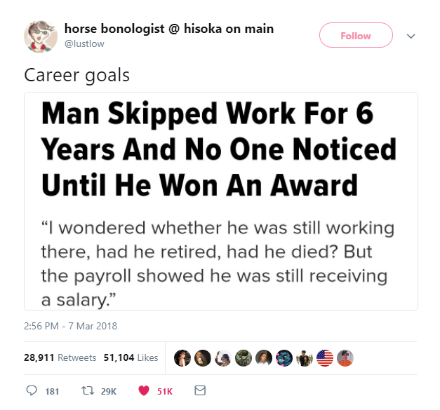 man skipped work for 6 years and no one noticed until he won an award
