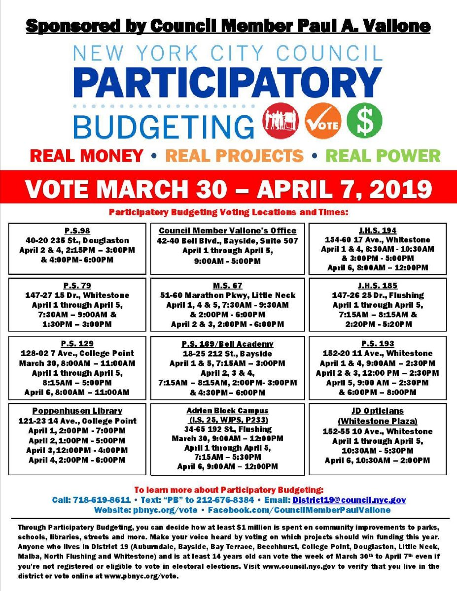NYC District 19 residents can choose where to spend $1 million in city funds with Participatory Budgeting by April 7! Click to see voting locations and times.