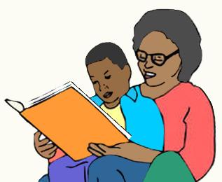 mãe e filho lendo