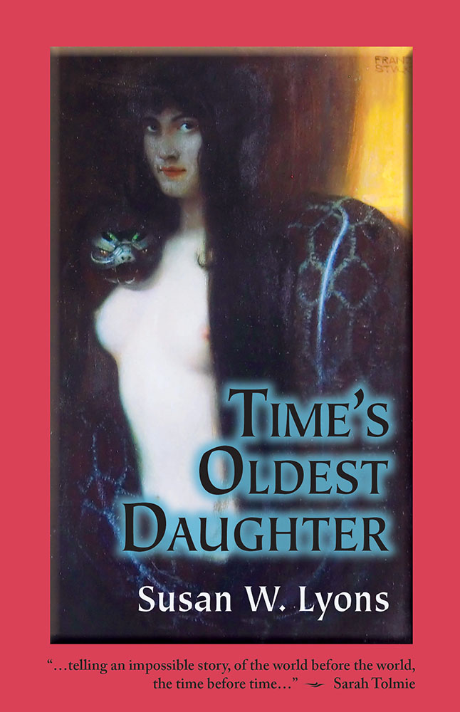 Cover image of TIME'S OLDEST DAUGHTER, featuring a symbolist oil painting of Sin with a snake.