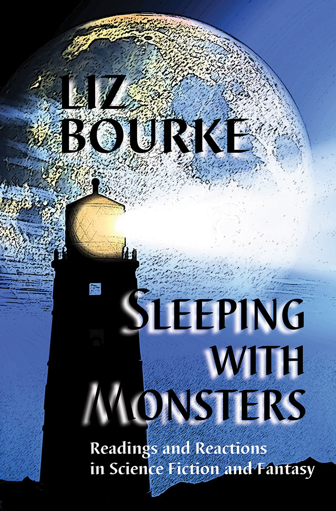 Cover image of SLEEPING WITH MONSTERS, featuring a lighthouse cut against a blue sky and large moon.