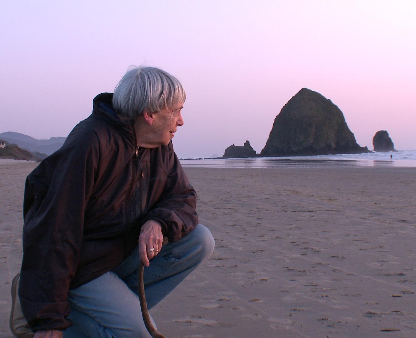 Ursula K. Le Guin on the beach