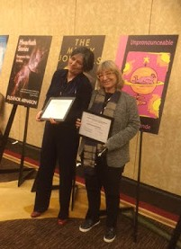 Claudia Casper and Susan diRende posing with their Philip K. Dick Award and Citation Certificates