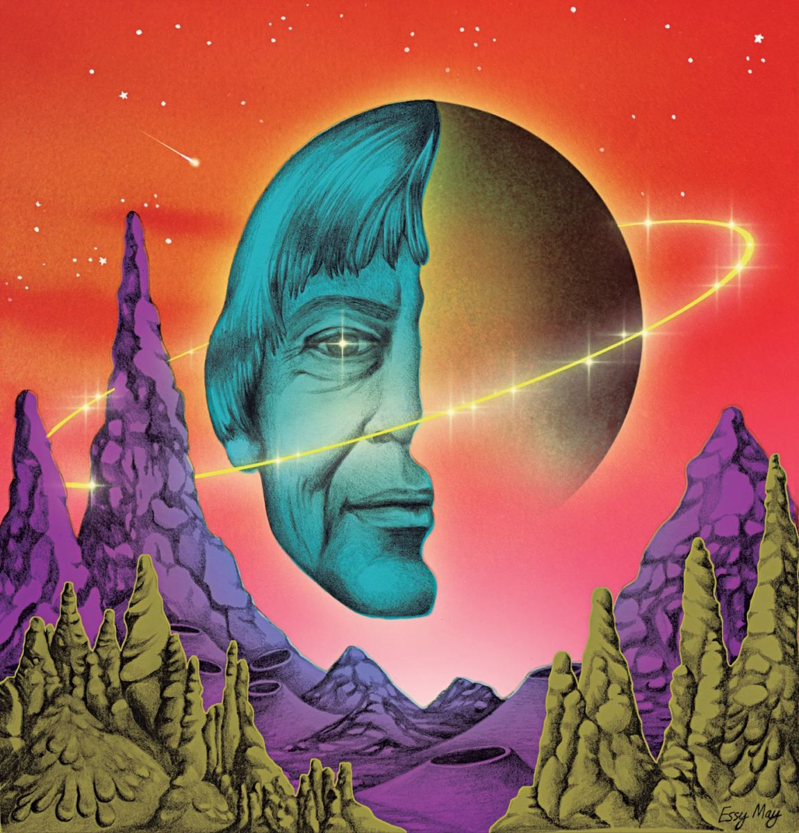 A colourful, sci-fi portrait of Le Guin merged with a ringed planet