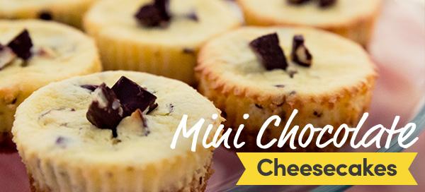 salted chocolate chunk and pretzel mini cheesecakes