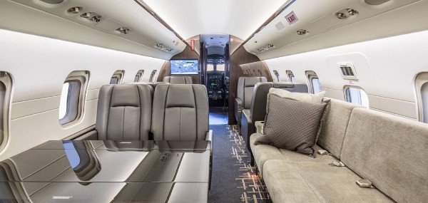 Cabin of the Challenger 601 for this flight