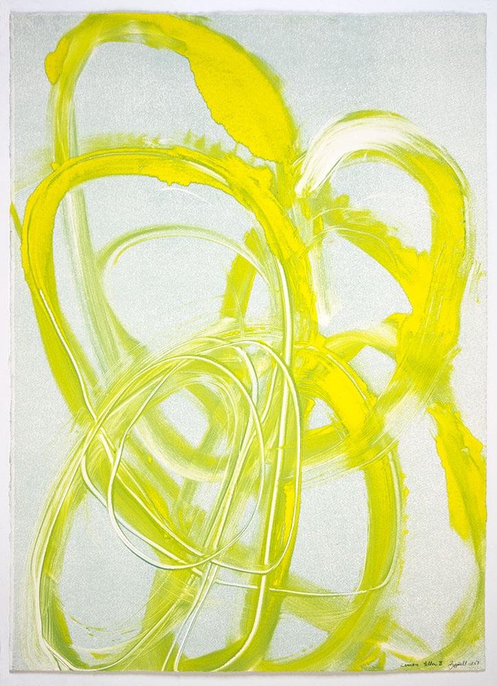 """Brenda Zappitell: """"Lemon Yellow III"""", 2017. Monotype."""