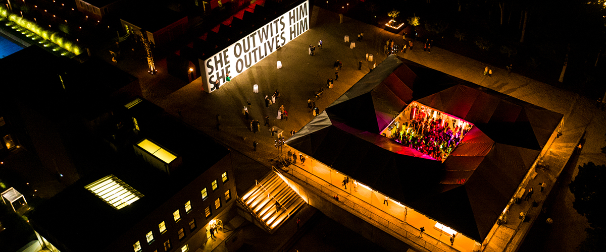 Aerial photo of the Watermill Center's Benefit Gala 2017 - Photograph © Lovis Ostenrik