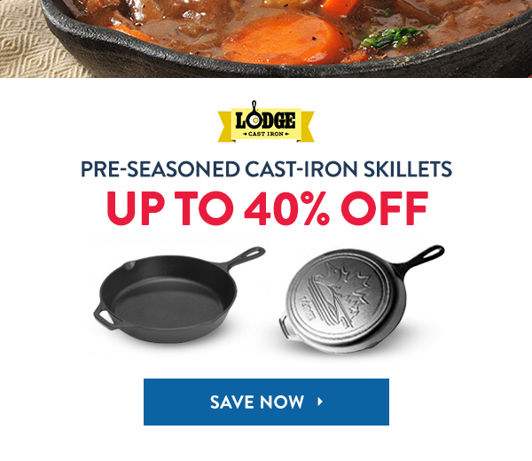 Save Up To 40% On Lodge Pre-Seasoned Cast-Iron Skillets