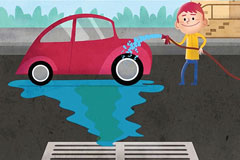 Person washing car with dirty water entering stormwater drain
