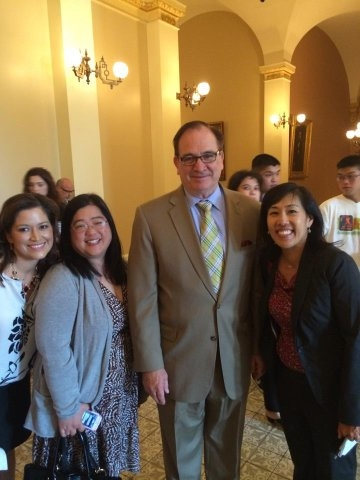 Pictured: Stanford Allergy Center Community Council members Roscio Miscio, Sharon Wong, and Caroline Chen with California Senator Bob Huff, after testifying in support of SB1266.