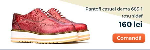 Pantofi casual dama 683-1. Culoare: rosu sidef. Pret: 160 lei. Comanda acum