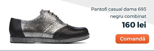 Pantofi casual dama 693. Culoare: negru combinat. Pret: 160 lei. Comanda acum