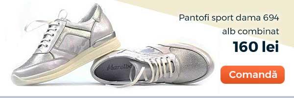 Pantofi sport dama 694. Culoare: alb combinat. Pret: 160 lei. Comanda acum