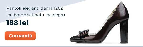 Pantofi eleganti dama 1262. Culoare: lac bordo satinat+lac negru. Pret: 188 lei. Comanda acum