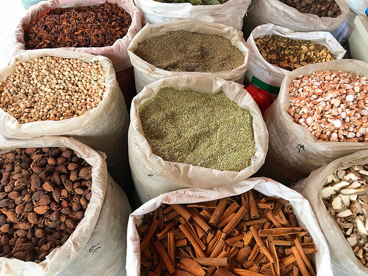Spices at the Chengdu wholesale spice market by The Mala Market