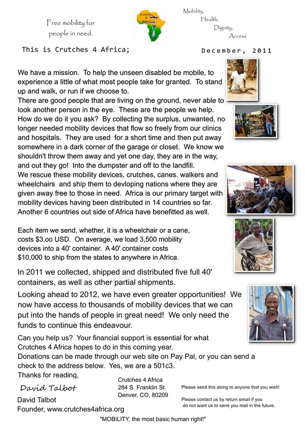 Crutches4Africa final newsletter of 2011