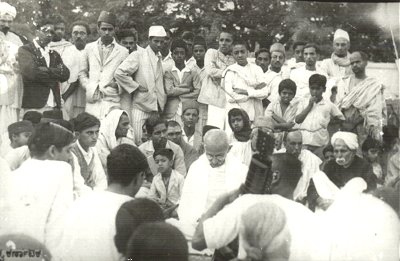 Gandhi at prayer meeting