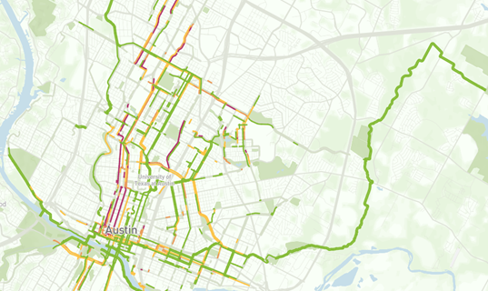 A photo of the new ride report stress map of Austin.