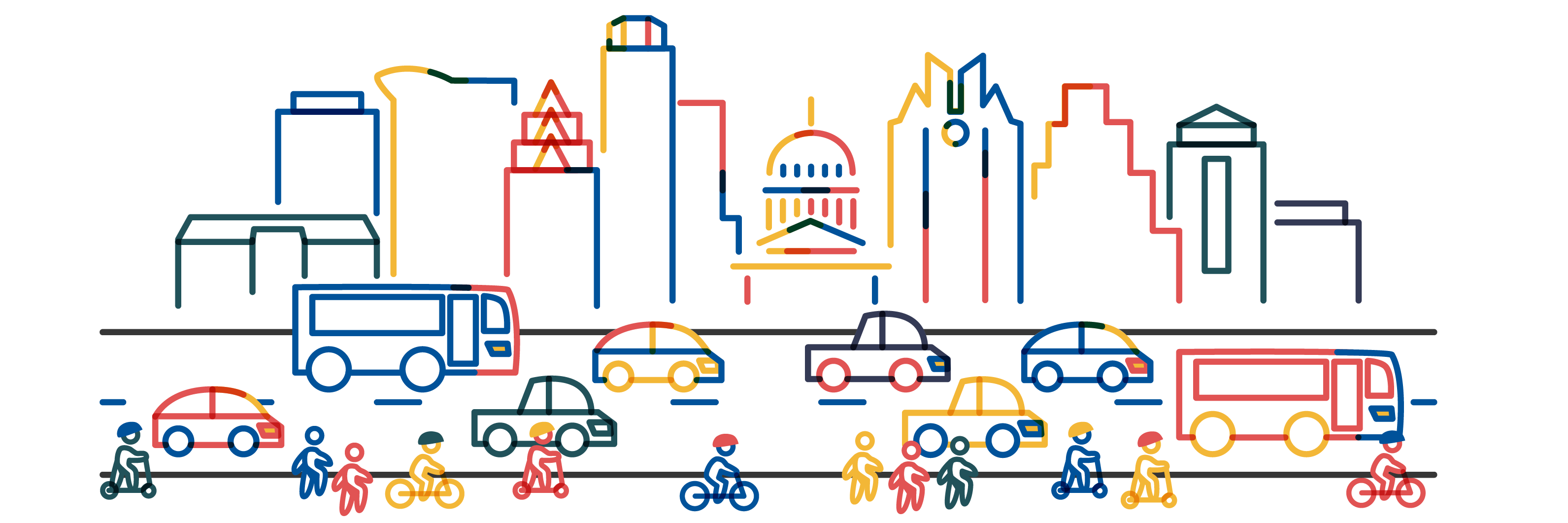 Illustration of Austin skyline, with people traveling by bus, car, bike, scooter, and foot in the foreground.