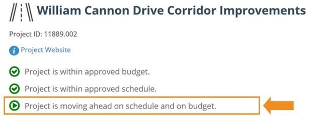 "Screenshot of capital explorer showing example of new feature, which reads ""Project is moving ahead on schedule and on budget."""
