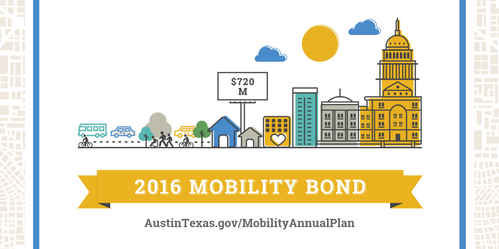 "2016 Mobility Bond illustration showing cityscape, with text ""$720 M"" and austintexas.gov/mobilityannualplan."