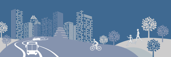 Illustrated graphic of Austin skyline with people traveling by car, bus, bicycle and foot.