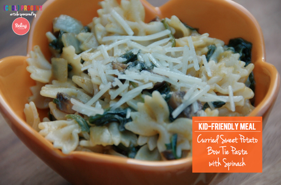 Curried Sweet Potato Bow Tie Pasta with Spinach